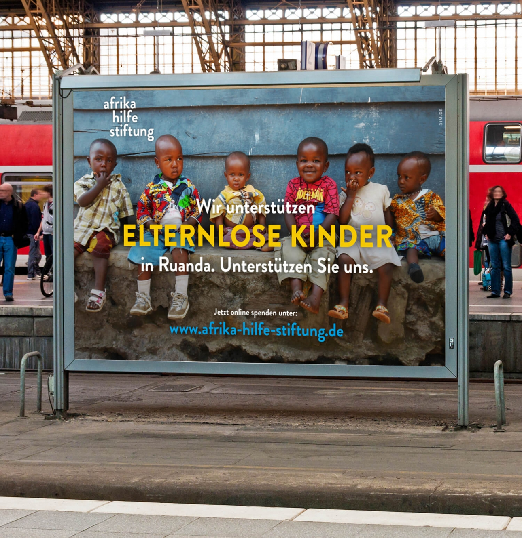 Plakatkampagne, Non-Profit Kampagne für Hilfsorganisation Afrika Hilfe Stiftung mit Aufruf zum Spenden von der 31M Design- und Werbeagentur