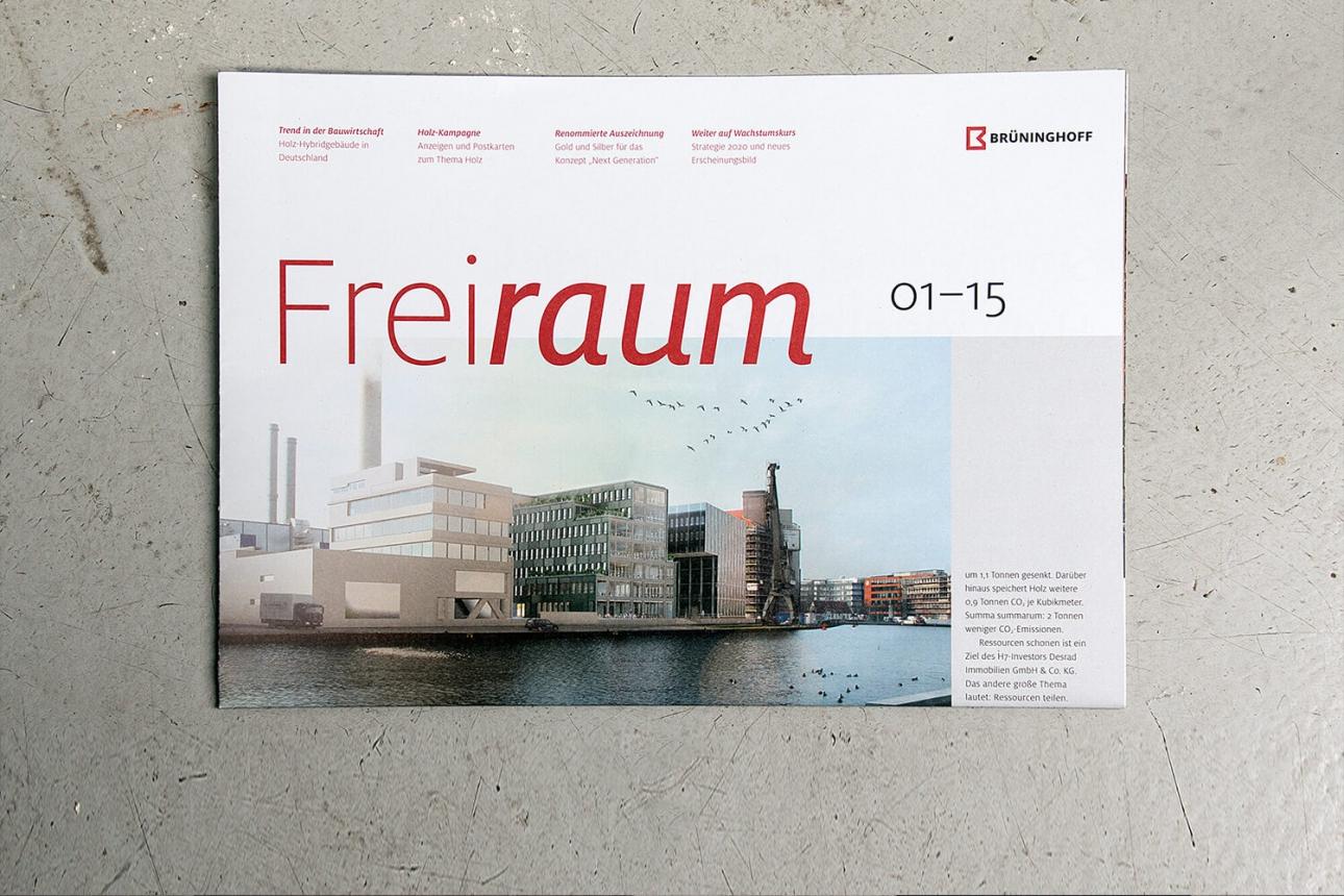 Corporate Publishing, Magazingestaltung als Kunden- und Mitarbeitermagazin für das Bauunternehmen Brüninghoff von der 31M Corporate Publishing Agentur, Essen