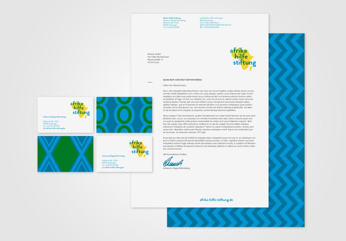 31M Corporate Design Agentur: Gestaltung von Printmedien (Briefbogen und Visitenkarten) für die Afrika-Hilfe-Stiftung, Non-Profit