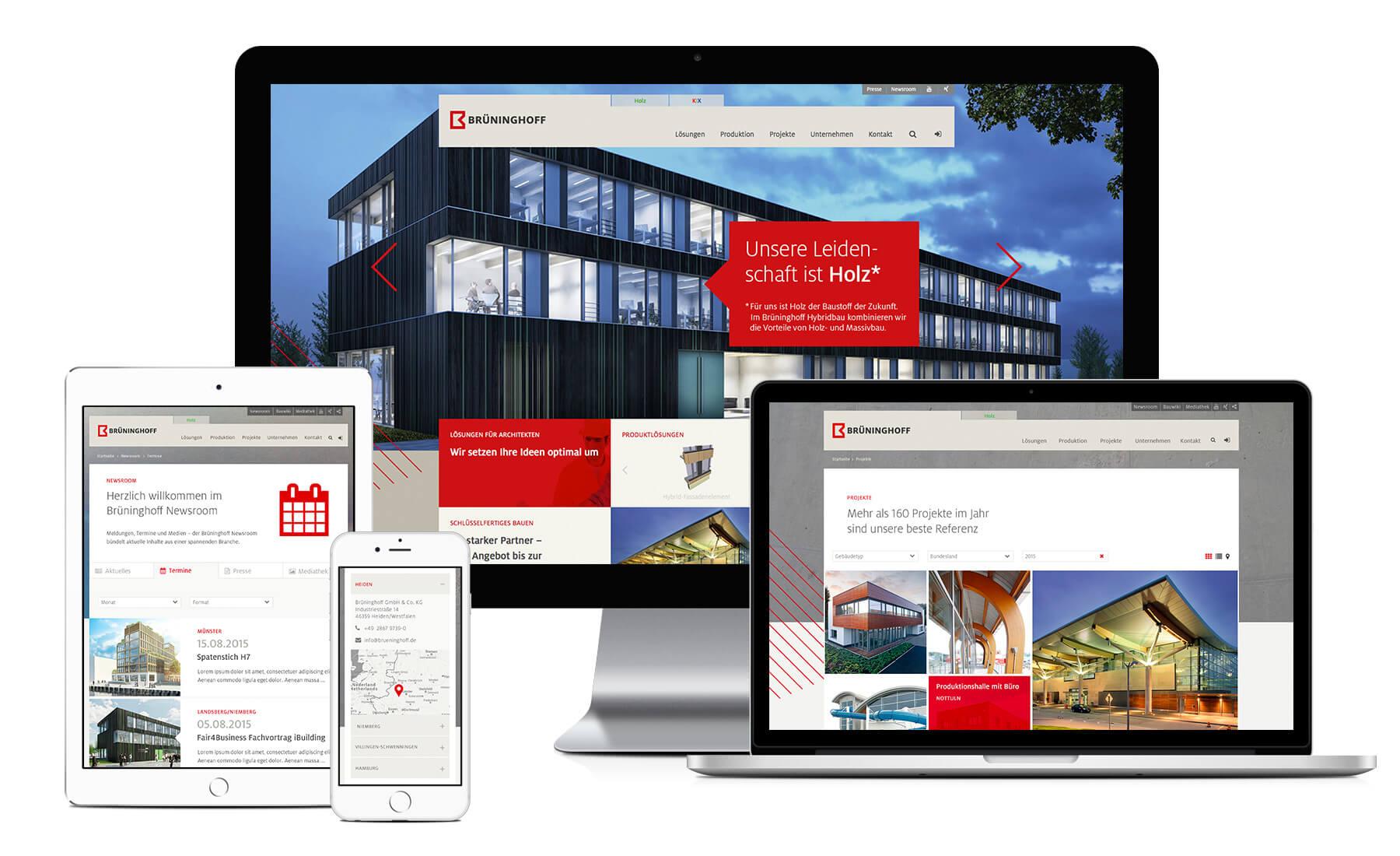 Webdesign im Rahmen des Corporate Design Relaunchs für Brüninghoff aus Heiden