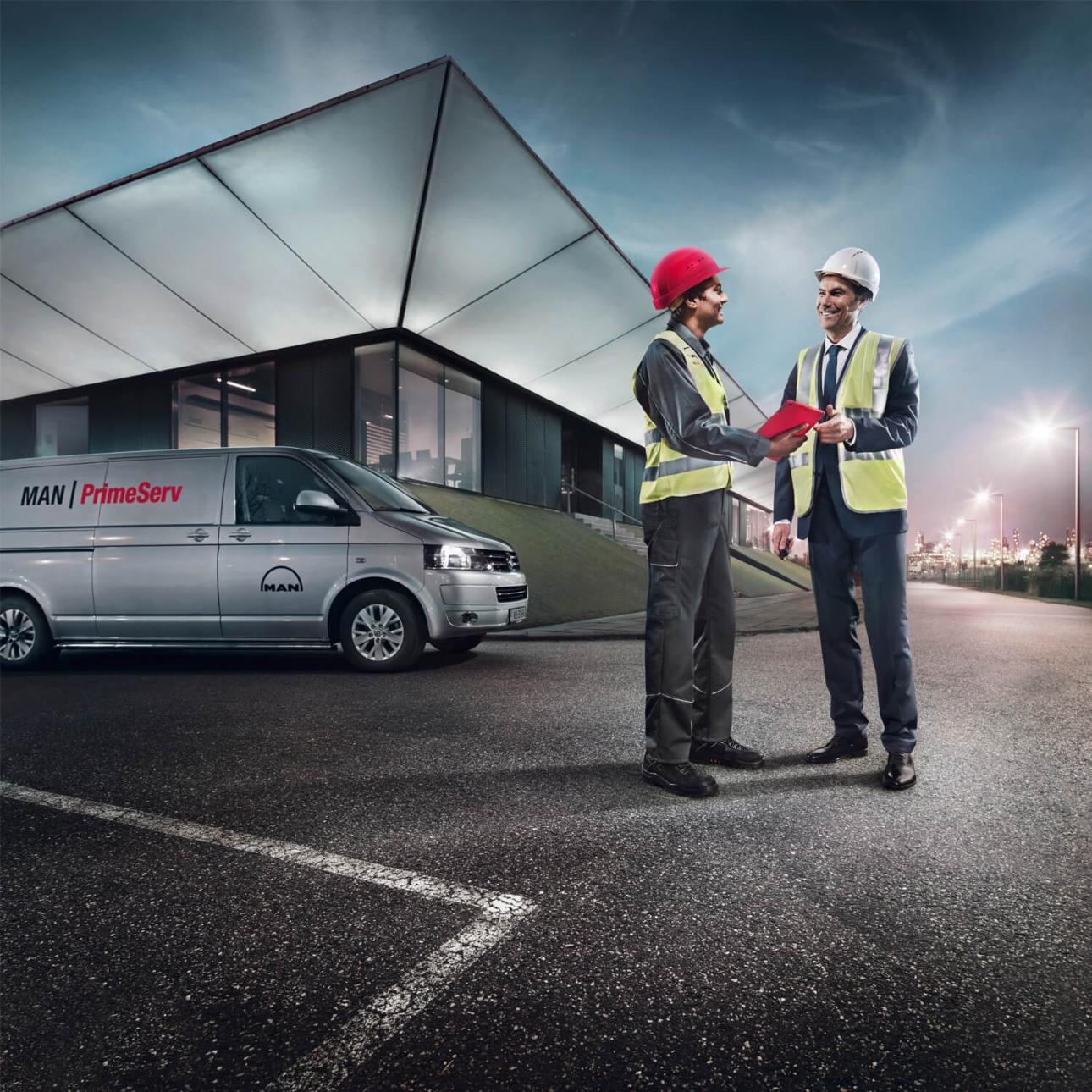 Fotografie von Kampagnemotiven für weltweite MAN PrimeServ Werbekampagne, Konzeption und Design von der 31M Design- und Werbeagentur