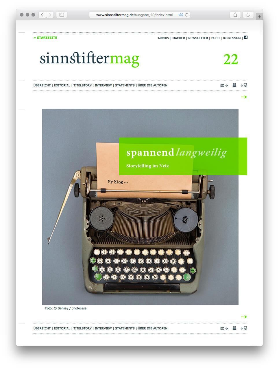 spannend/langweilig: Storytelling im Netz. Die zweiundzwanzigste Ausgabe von sinnstiftermag