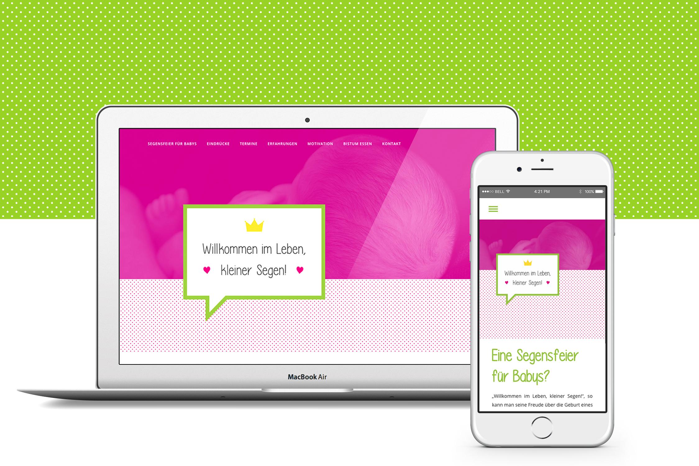 Segen für Babys – Bistum Essen – Webdesign