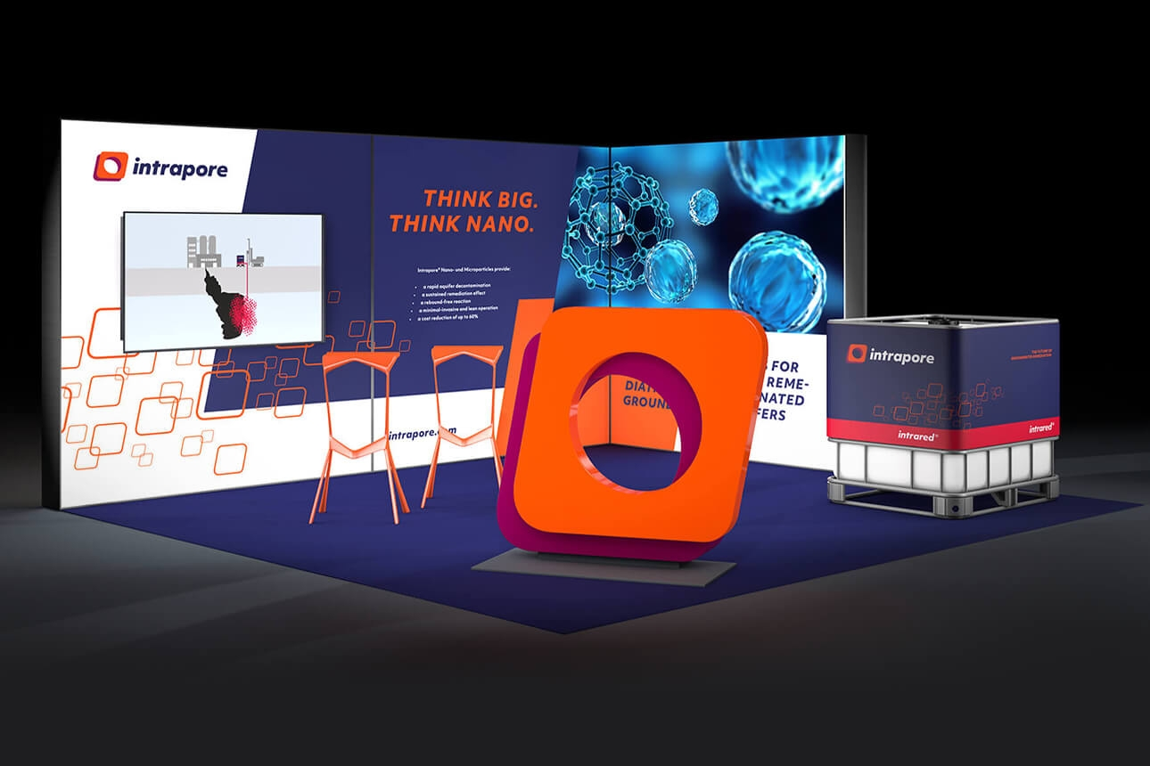 Messestand im neuen Intrapore Corporate Design von der Designagentur 31M