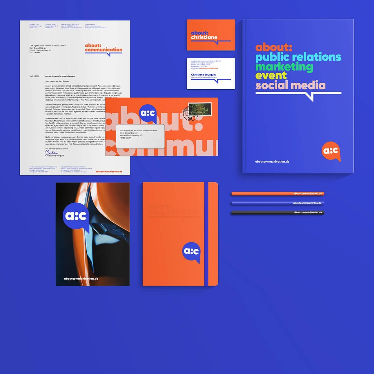 Geschäftsausstattung für Kommunikationsagentur, Naming und Corporate Design Entwicklung