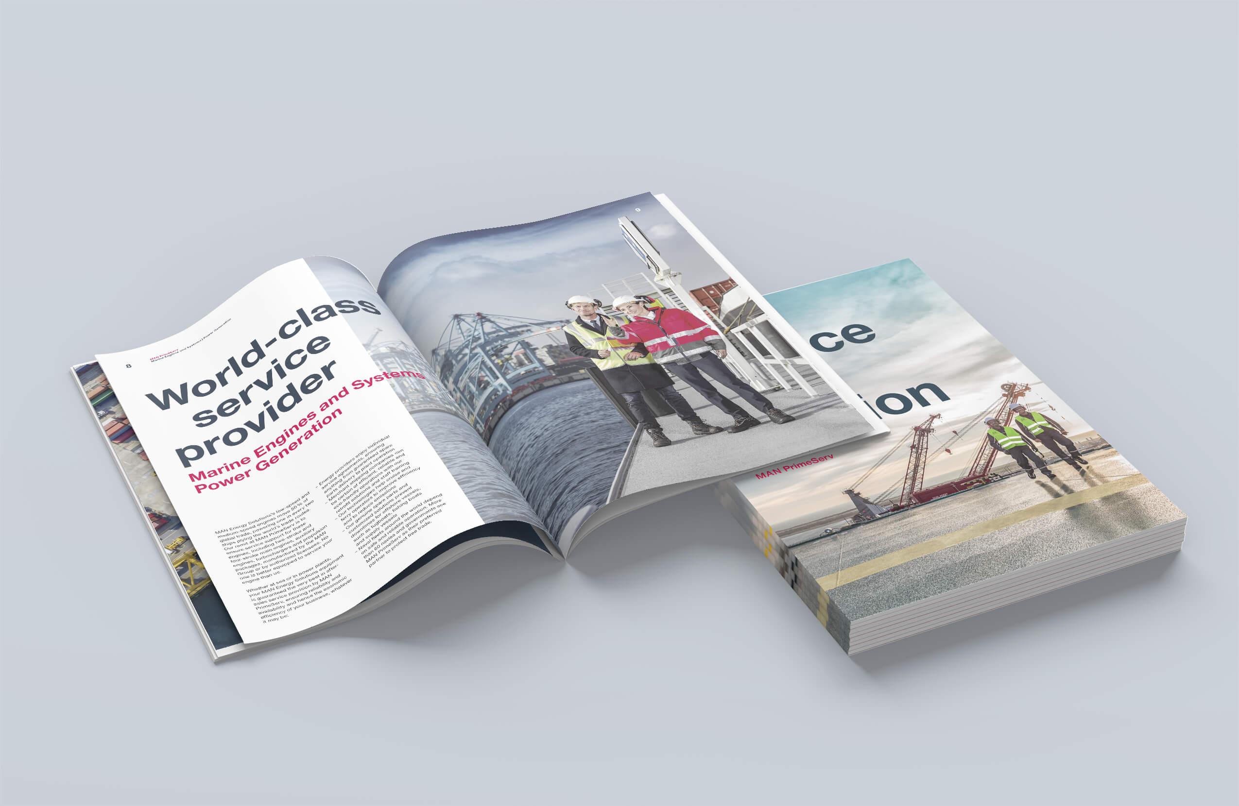 Konzeption & Design von Produktbroschüren und Imagebroschüren für MAN PrimeServ von der 31M Design- und Werbeagentur