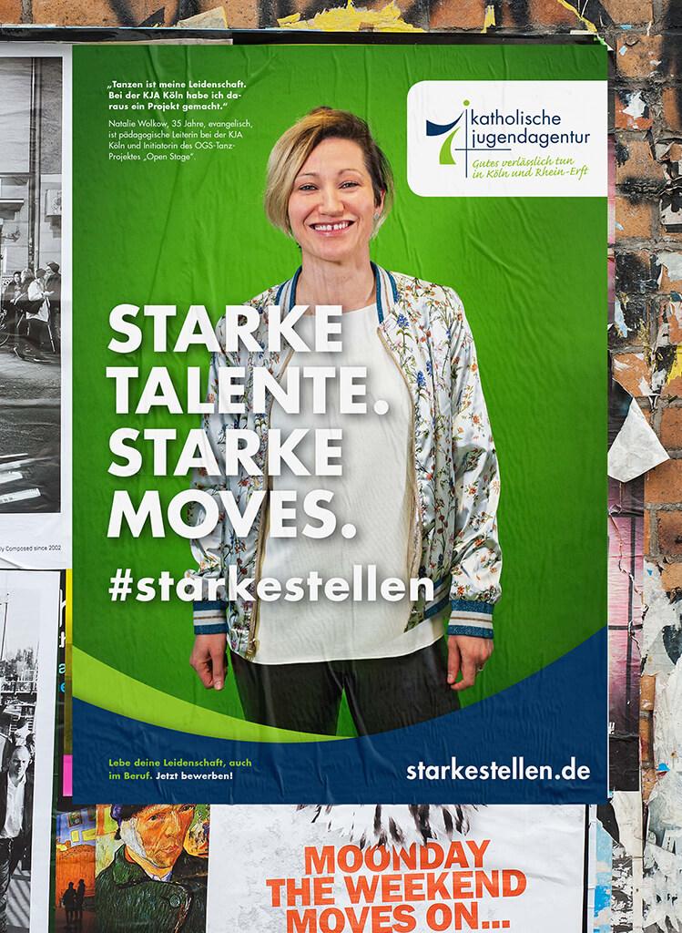 Recruitingkampagne starkestellen.de für Non-Profit Unternehmen des Erzbistum Köln, Konzeption, Fotografie und Design von 31M