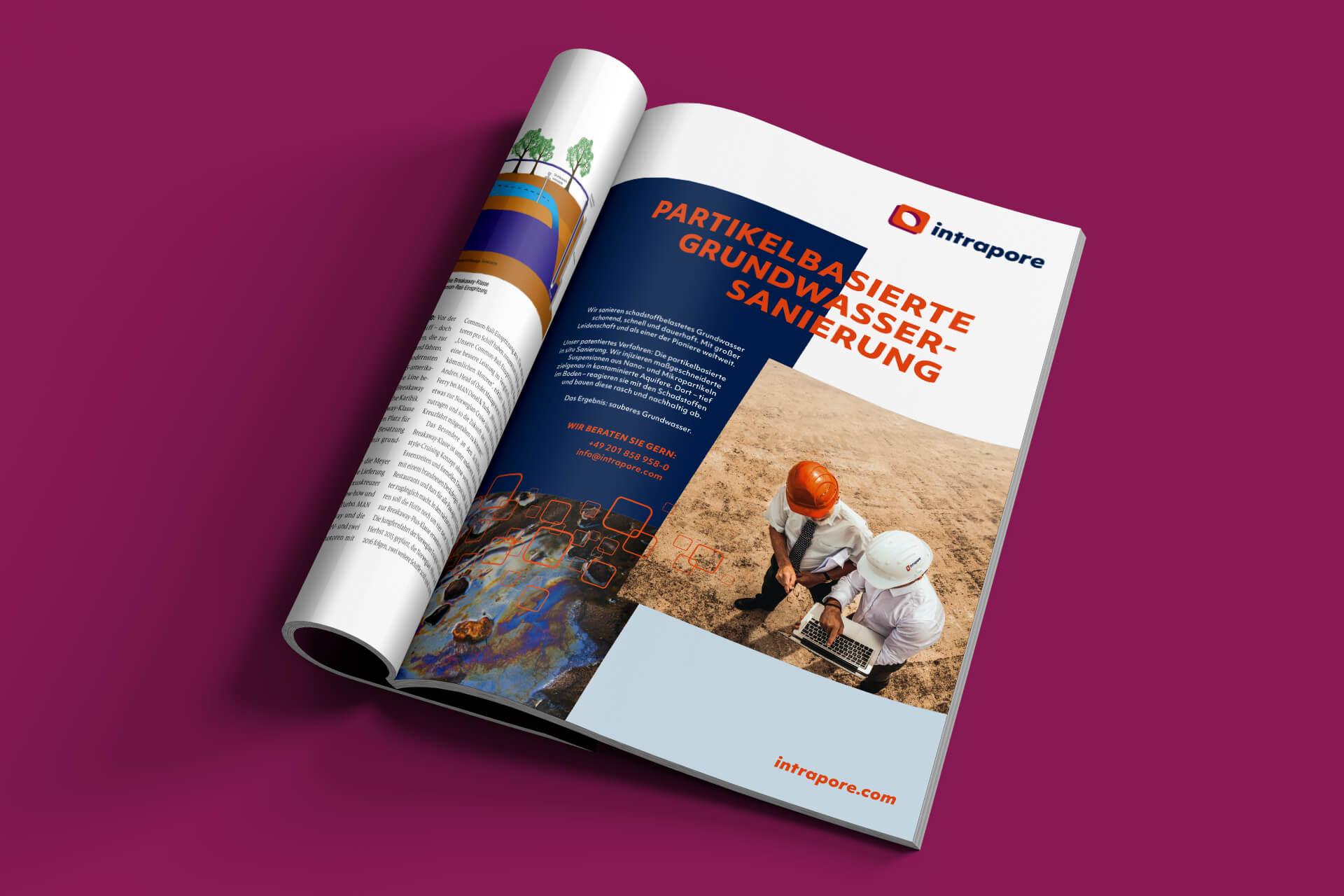 Kampagne, Print-Anzeige im neuen Intrapore Corporate Design von 31M