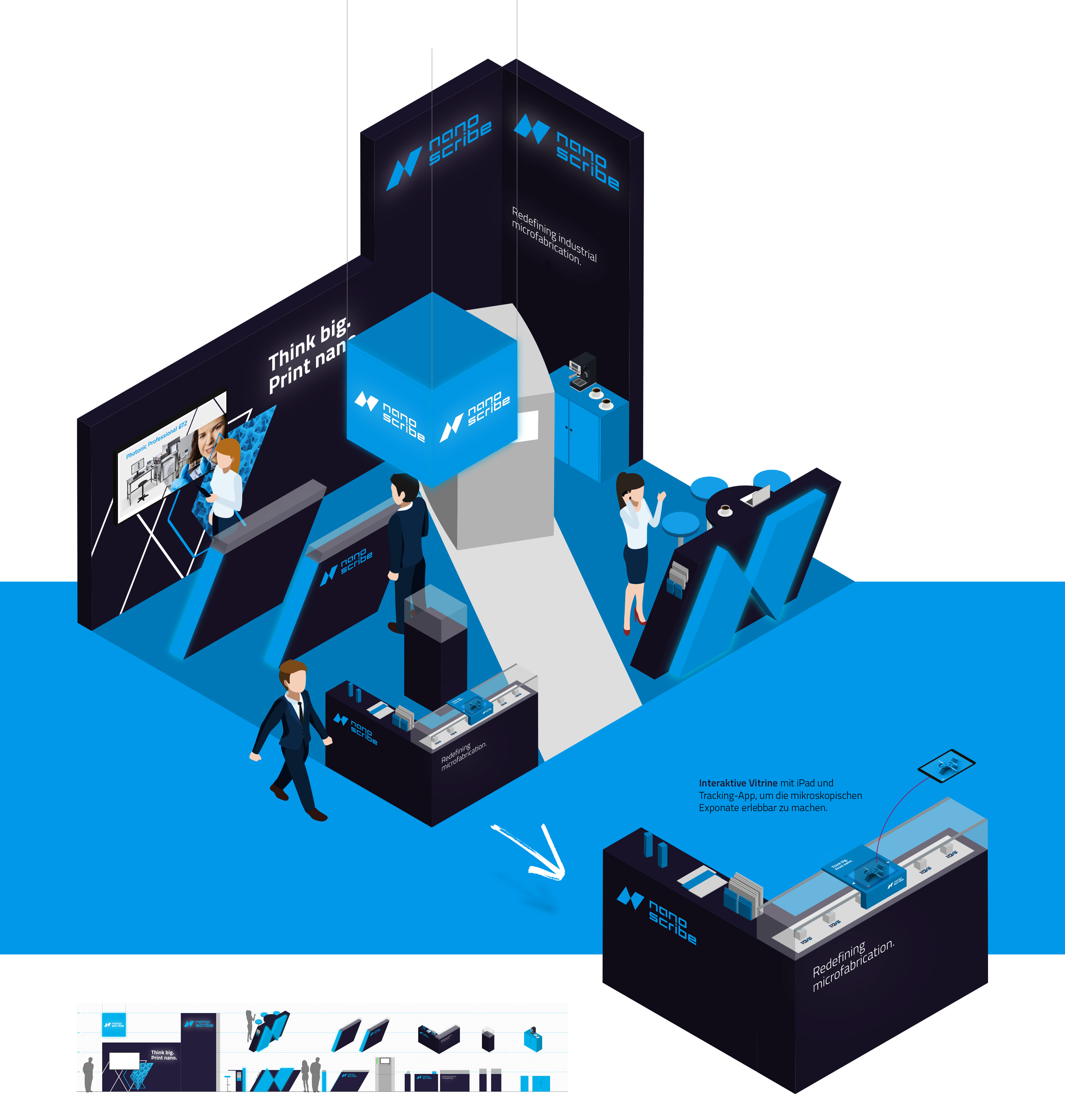 Konzeption, Design und Planung: Messebau mit Lichtkonzept und individuellen Möbeln und Vitrinen im Nanoscribe Corporate Design von 31M Agentur