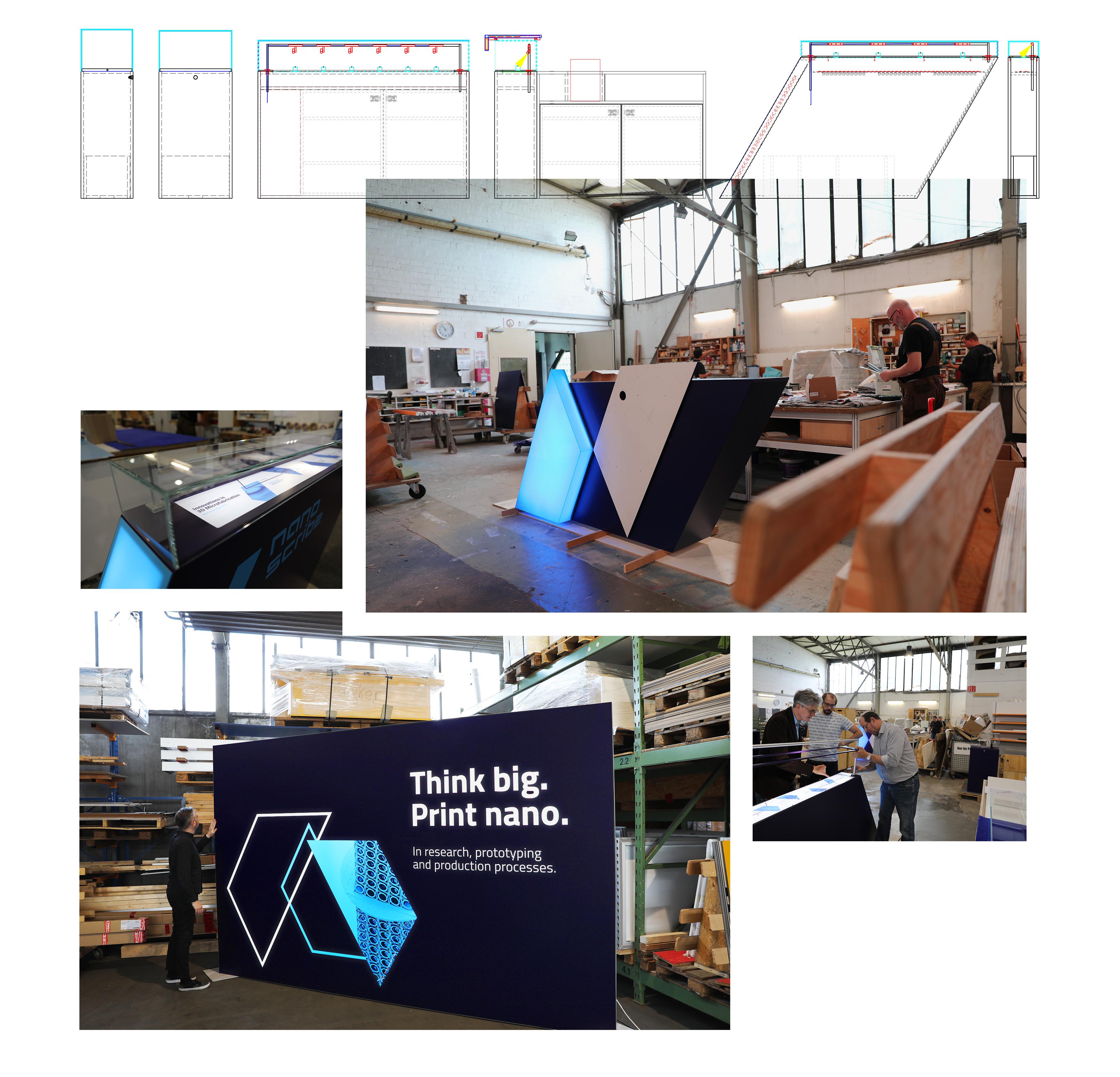 Messebau mit Lichtkonzept und individuellen Möbeln und Vitrinen im Nanoscribe Corporate Design von 31M Agentur