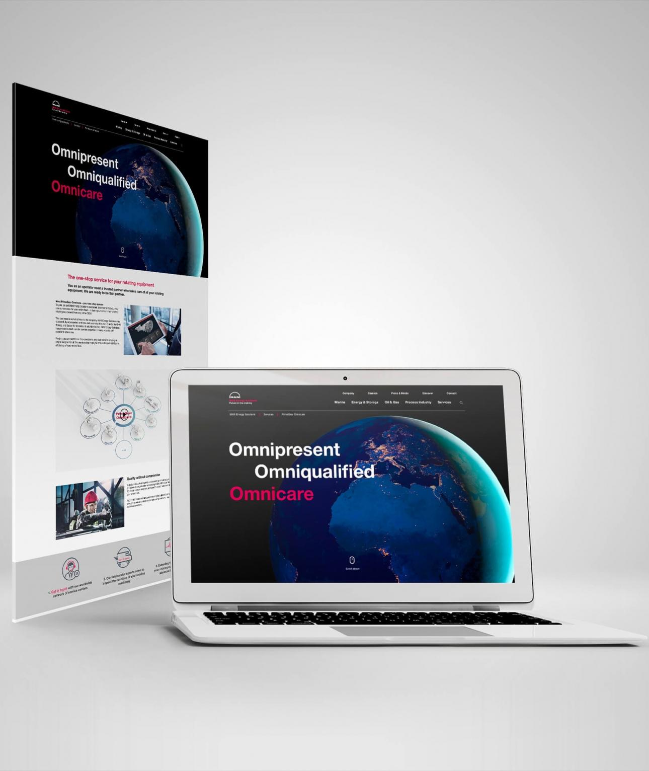 Gestaltung der Landingpage für die Omnicare Kampagne zur Markeneinführung