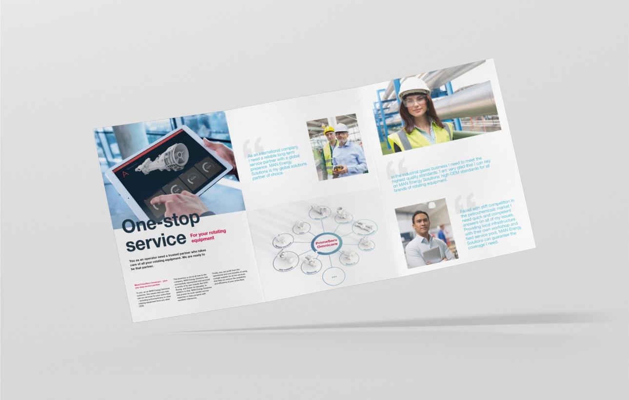 Design der Infobroschüre für MAN PrimeServ