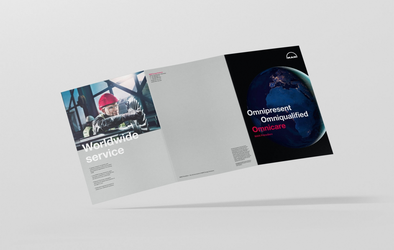 Außenseite Design der Infobroschüre für MAN PrimeServ