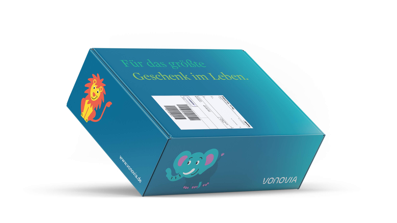 Babybox-Verpackung im Corporate Design von Vonovia