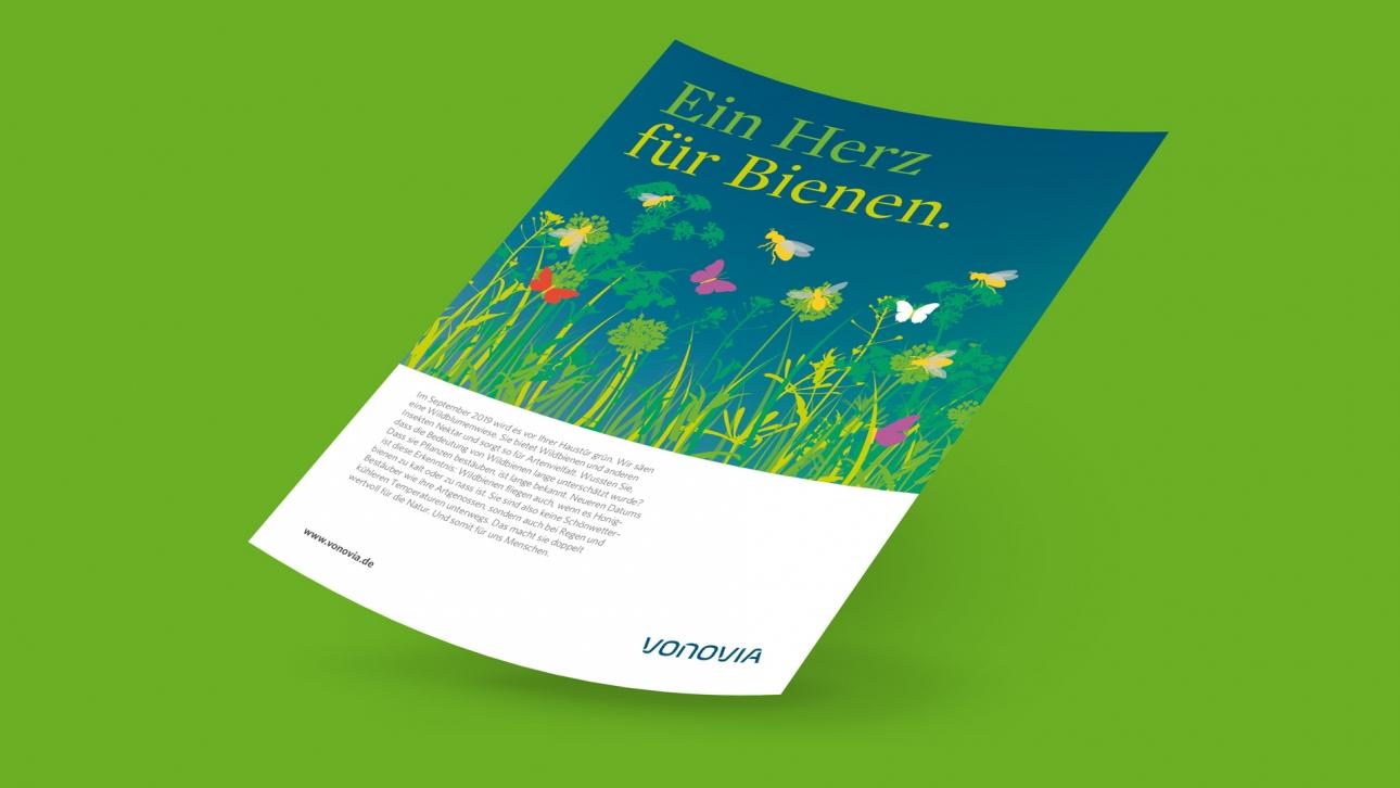 Poster Cover Aushang von Vonovia Ein Herz für Bienen