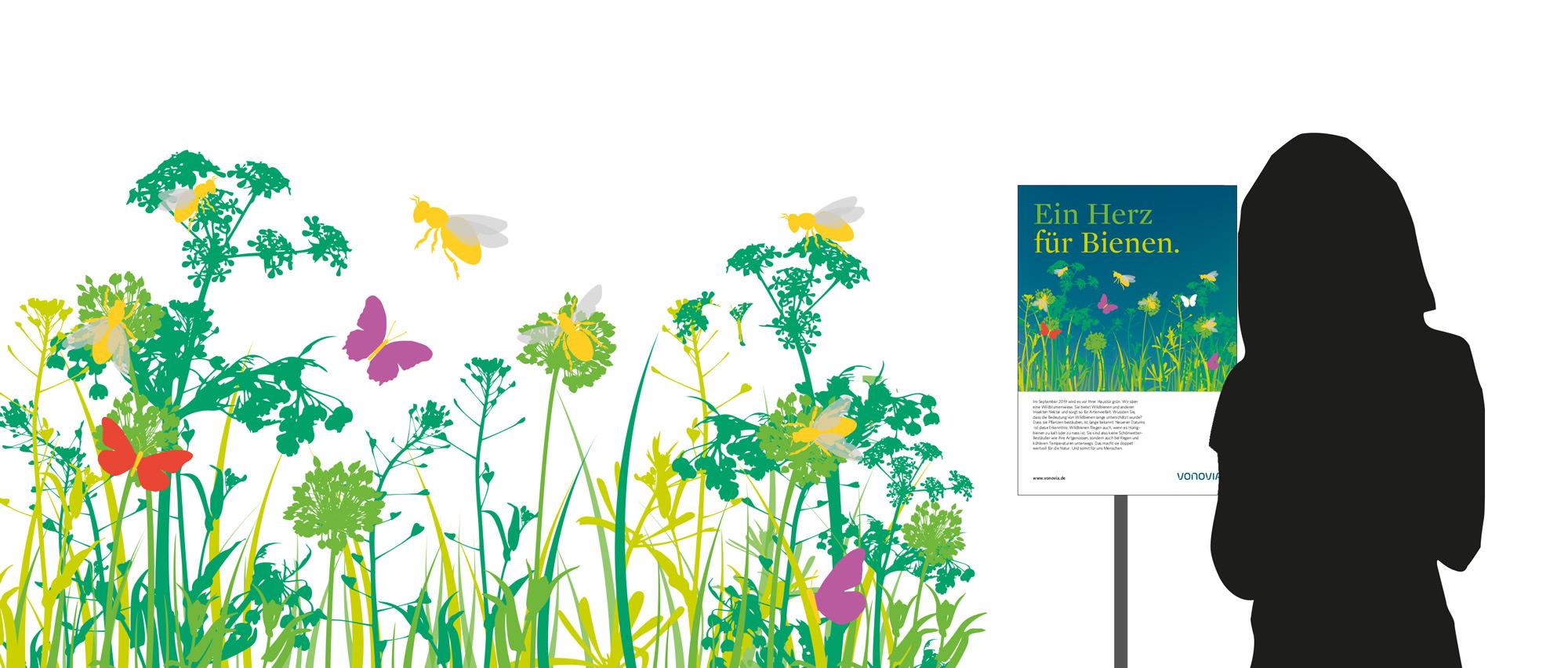 Illustration: Ein Herz für Bienen Aushang