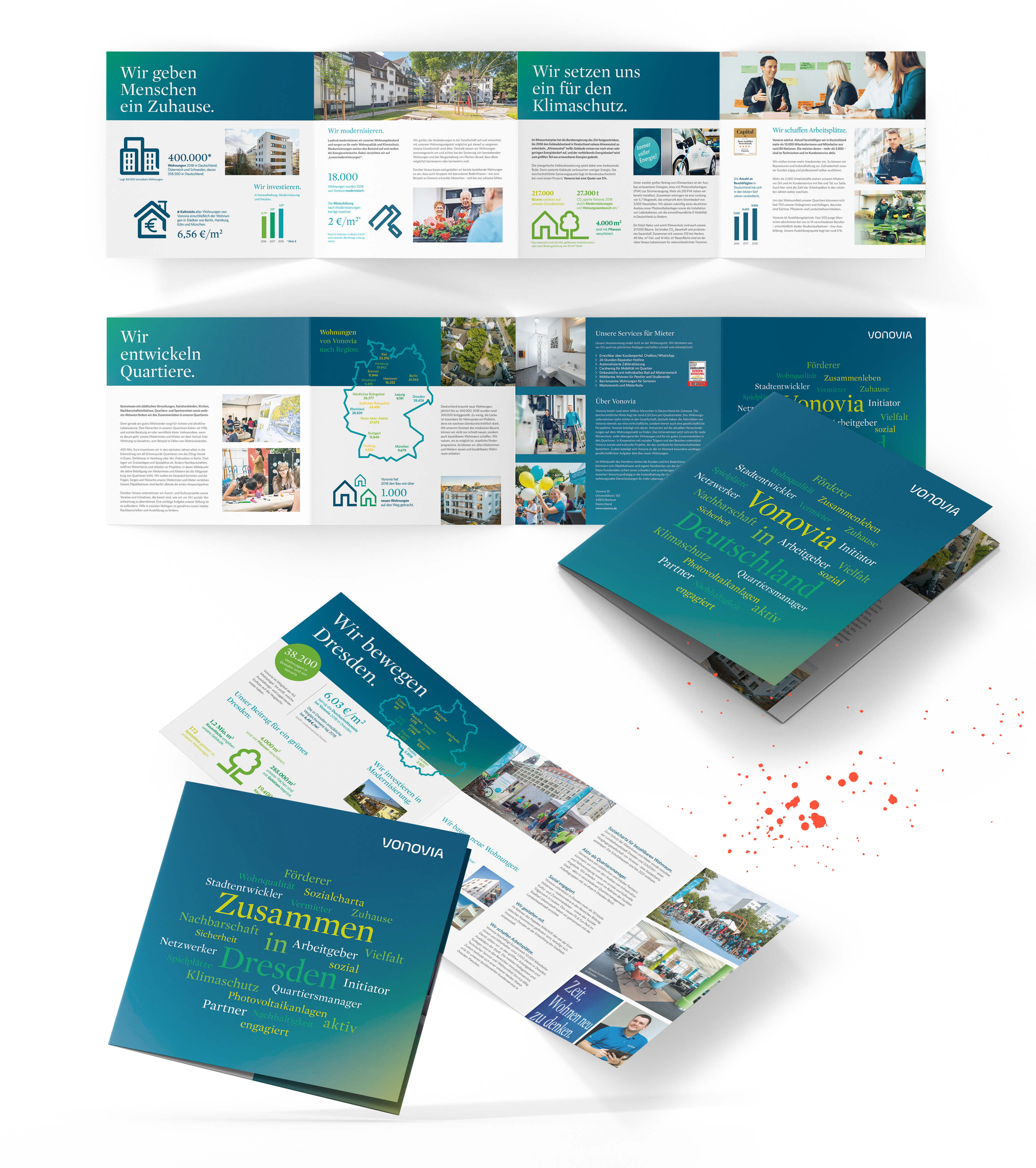 Ansicht der neu designten Broschüren von allen Seiten
