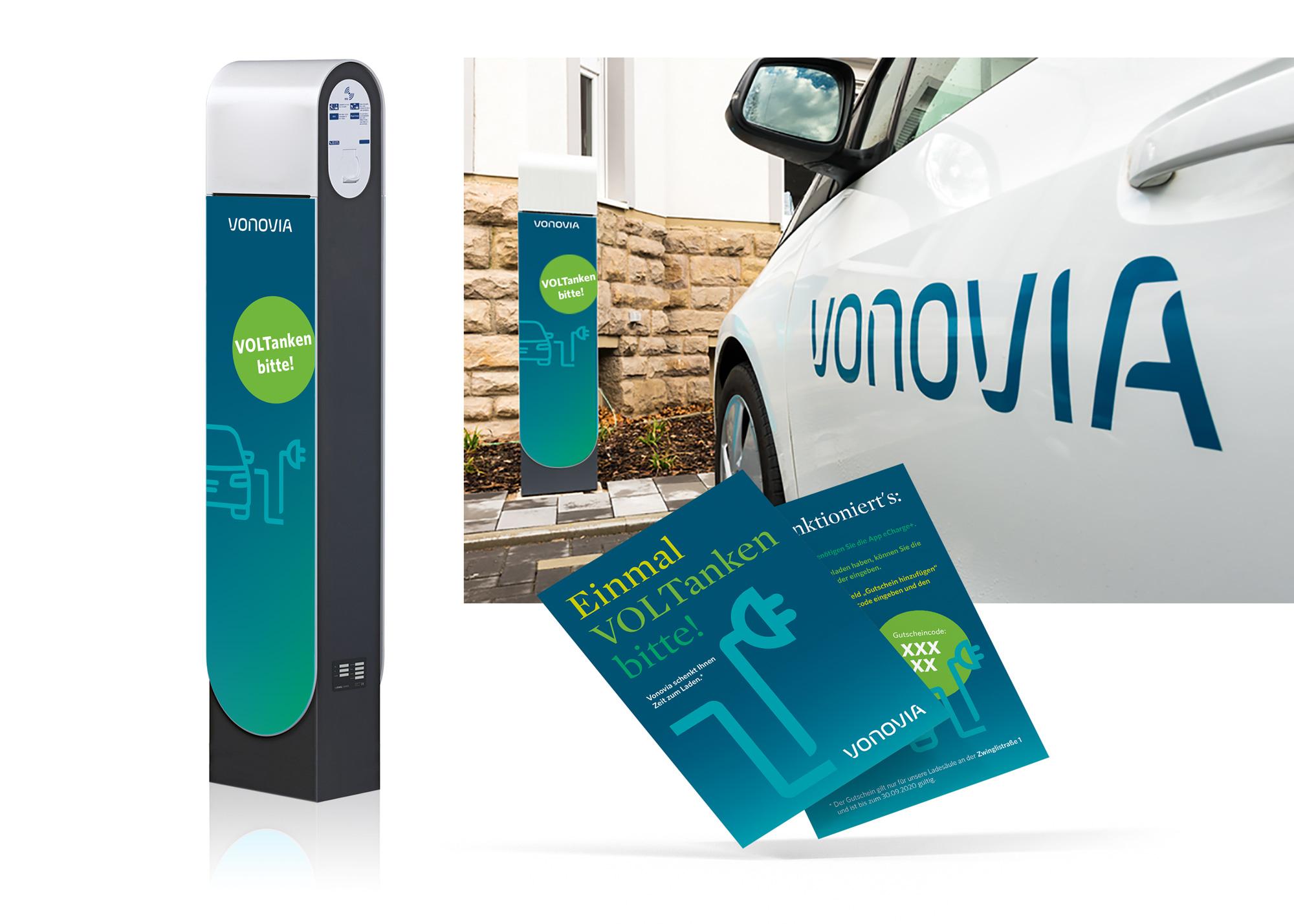 E-Ladesäule Aufdruck und Broschüre im CD von Vonovia