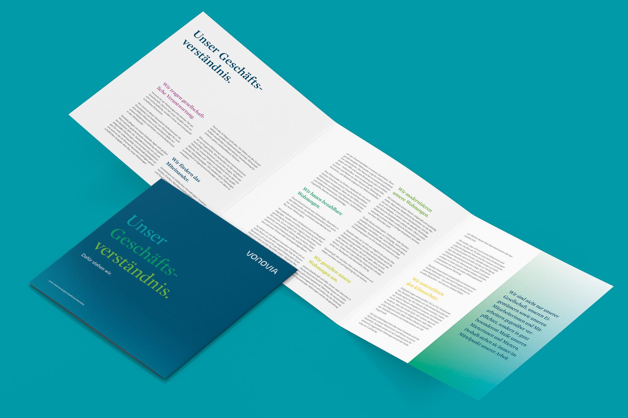 Ansicht Broschüre Titelseite und Innenseite Vonovia Geschäftsverständnis