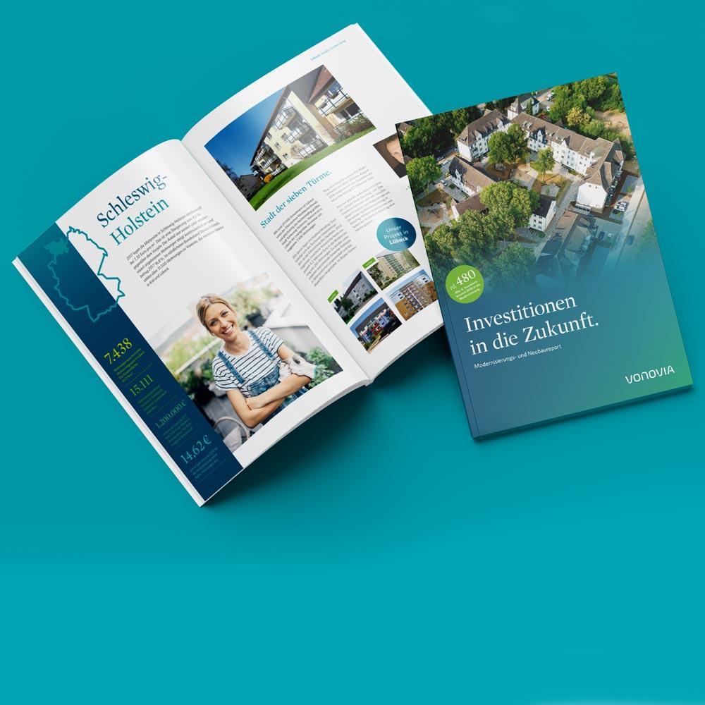 Printdesign: Die Vonovia Modernisierungsbroschüre wurde gestaltet von 31M, Außenseiten und Innenseiten