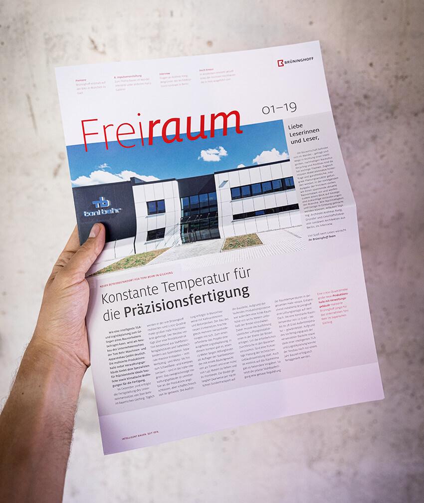 Magazingestaltung als Kunden- und Mitarbeitermagazin für das Bauunternehmen Brüninghoff von der 31M Corporate Publishing Agentur, Essen