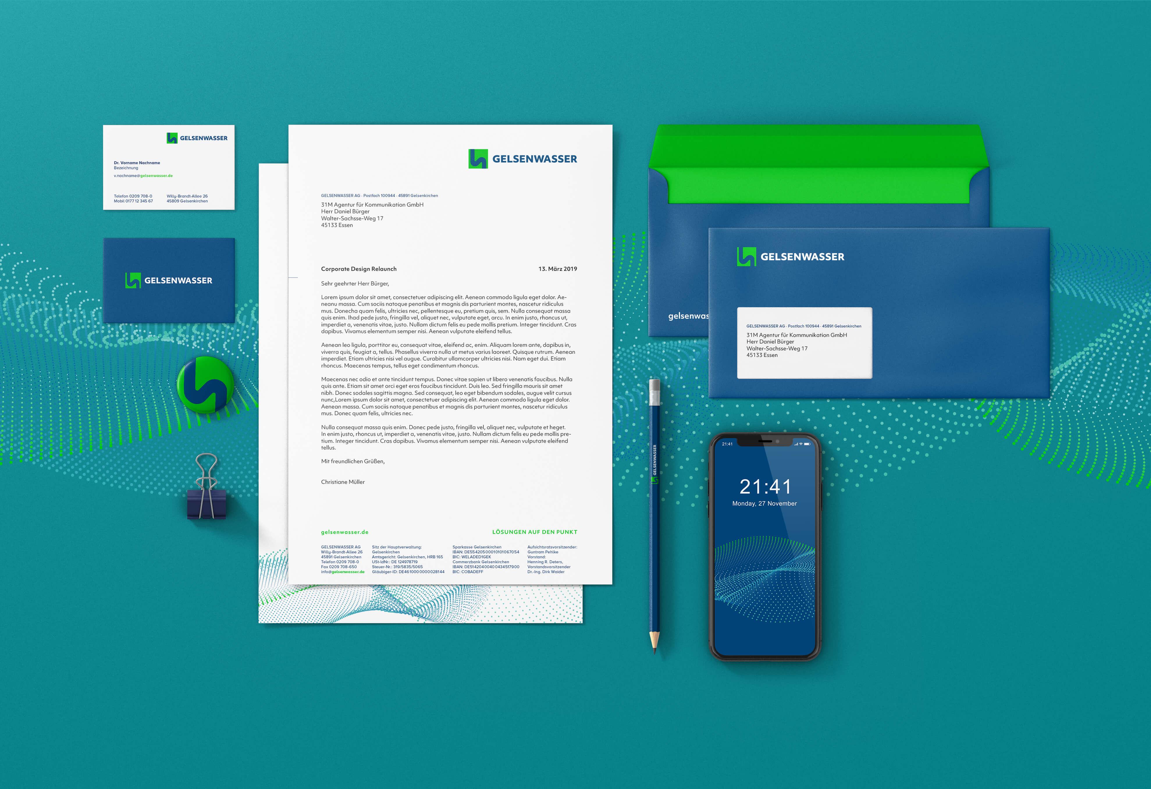Gelsenwasser Corporate Design Überarbeitung mit Brandbook Agentur 31M aus Essen