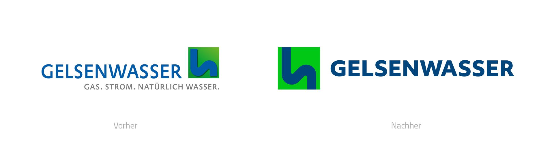 Logoüberarbeitung für die GELSENWASSER AG in Gelsenkirchen, Vergleich