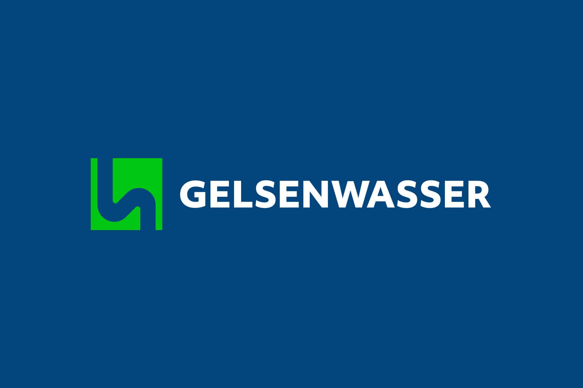 Das neue, überarbeitete Logo der Gelsenwasser AG von der Corporate Design Agentur 31M aus Essen, Ruhrgebiet