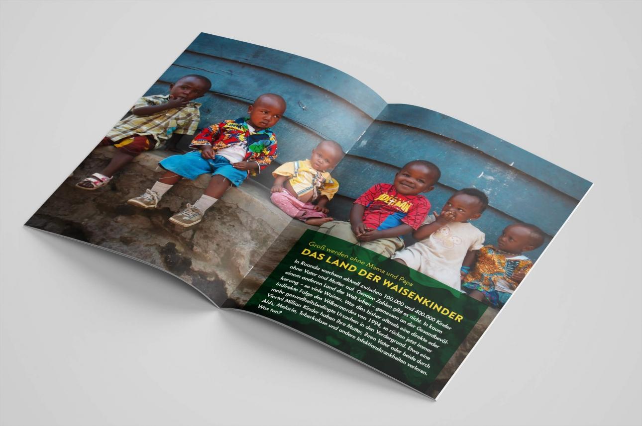 Corporate Publishing: Die Afrika-Hilfe-Stiftung engagiert sich in Ruanda für Waisenkinder, Gestaltung und Redaktion von 31M, Innenseiten mit emotionalen Bildern