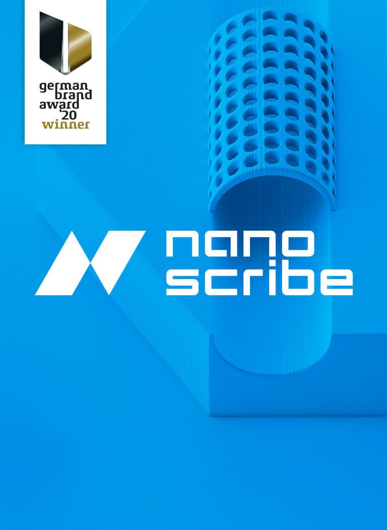 Corporate Design Relaunch für Nanoscribe gestaltet von 31M aus Essen, Ruhrgebiet ausgezeichnet mit dem German Brand Award