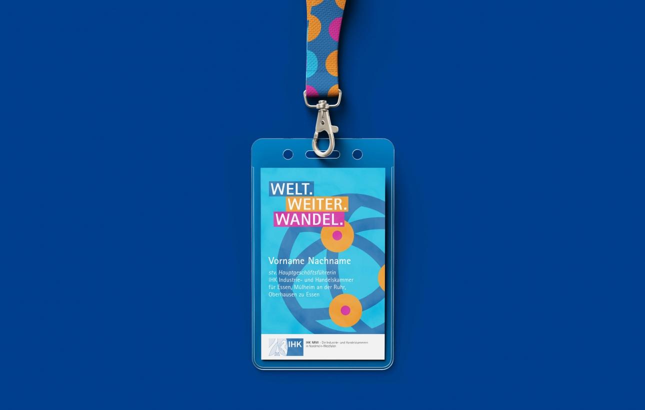 Design eines VIP-Ausweis für das Eventbranding des NRW-Außenwirtschaftstages 2020, gestaltet von der Corporate Design Agentur 31M