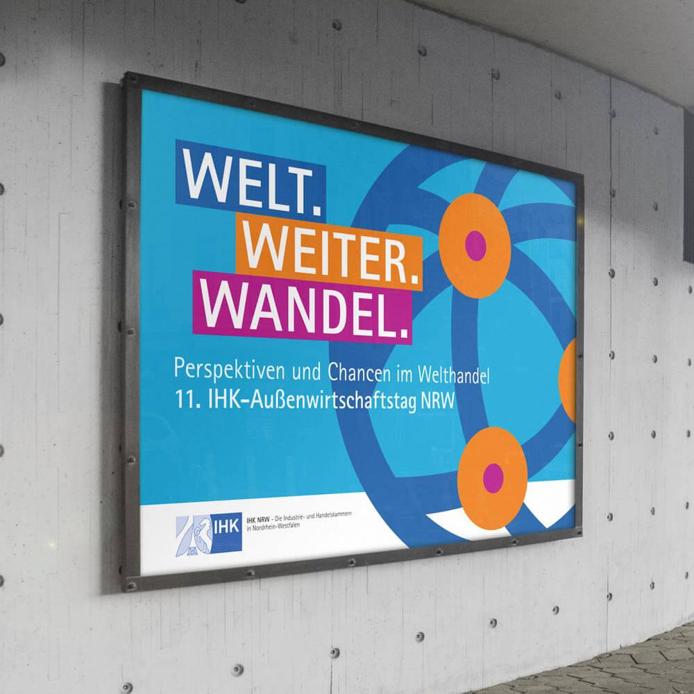 Großflächenplakat für das Eventbranding des NRW-Außenwirtschaftstages 2020, gestaltet von der Corporate Design Agentur 31M