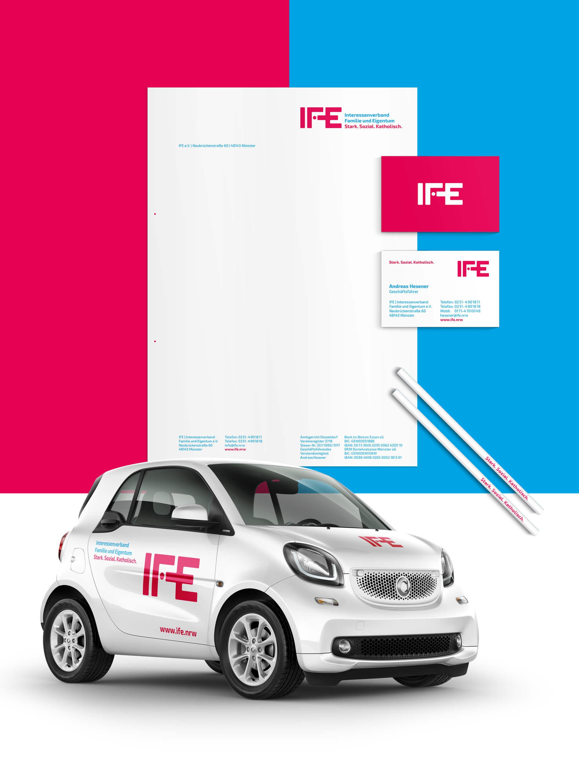 Corporate Design: Briefbogen, Visitenkarten und Fahrzeugbeschriftung im IFE-Design, gestaltet von der Corporate Design Agentur 31M