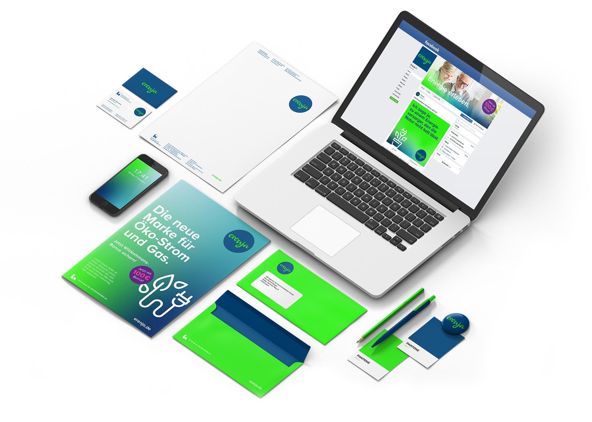 Corporate Identity für die Energiemarke erenja – Geschäftsausstattung