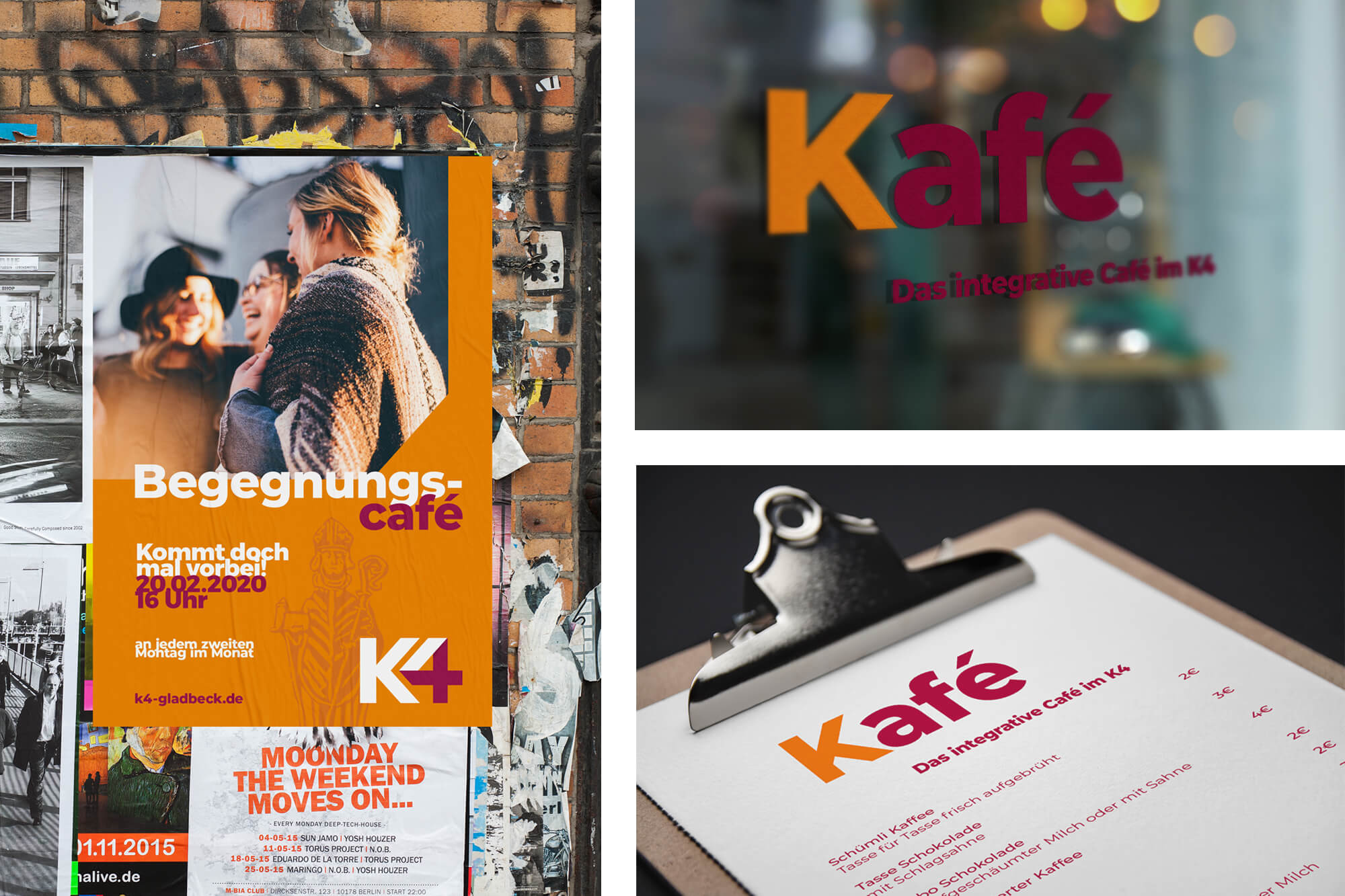 Plakat und Speisekarte für integratives Café KA