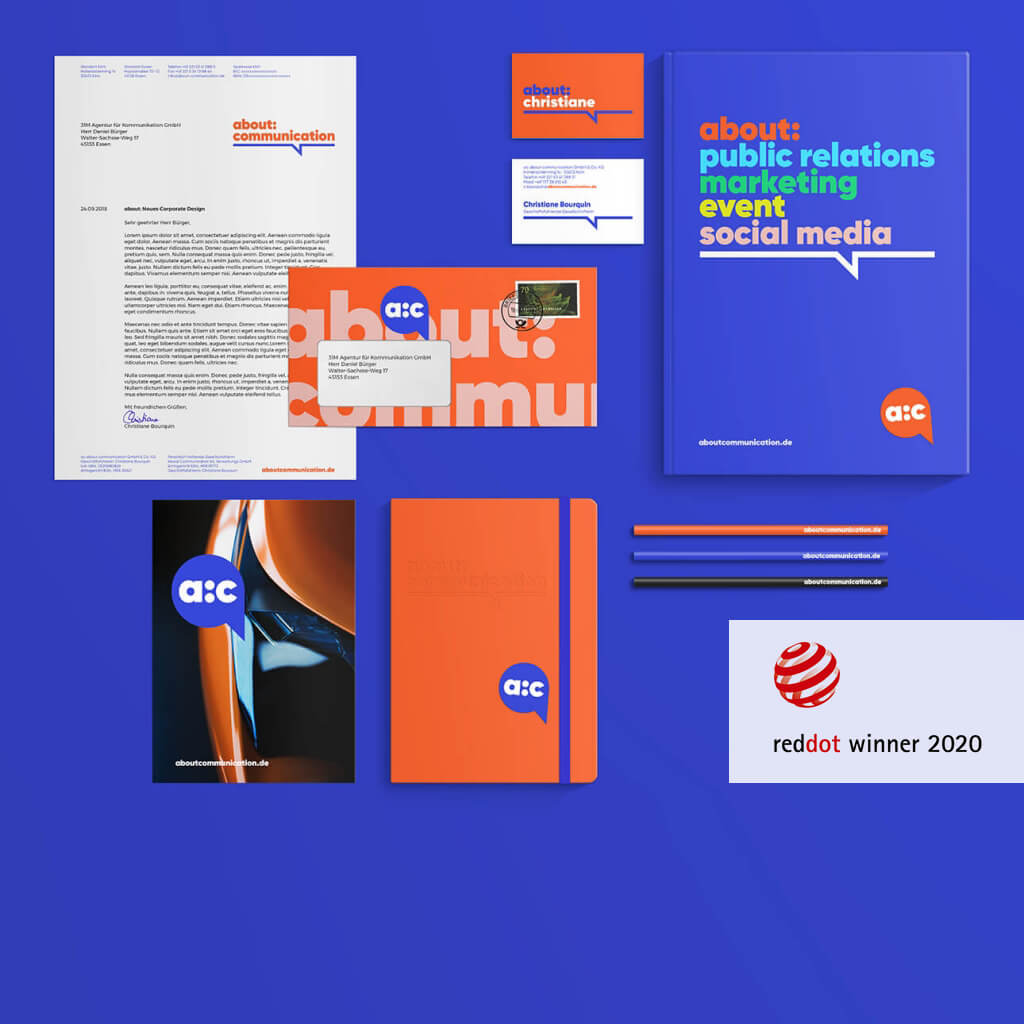 Corporate Design für about:communication – Ausgezeichnet mit dem Red Dot Award 2020