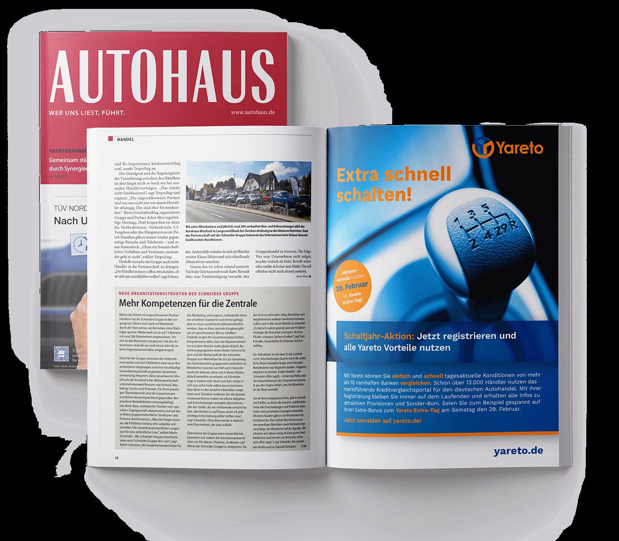 Ganzseitige Anzeige im Fachmagazin für Yareto entwickelt von der 31M Design- und Werbeagentur in Essen, Ruhrgebiet