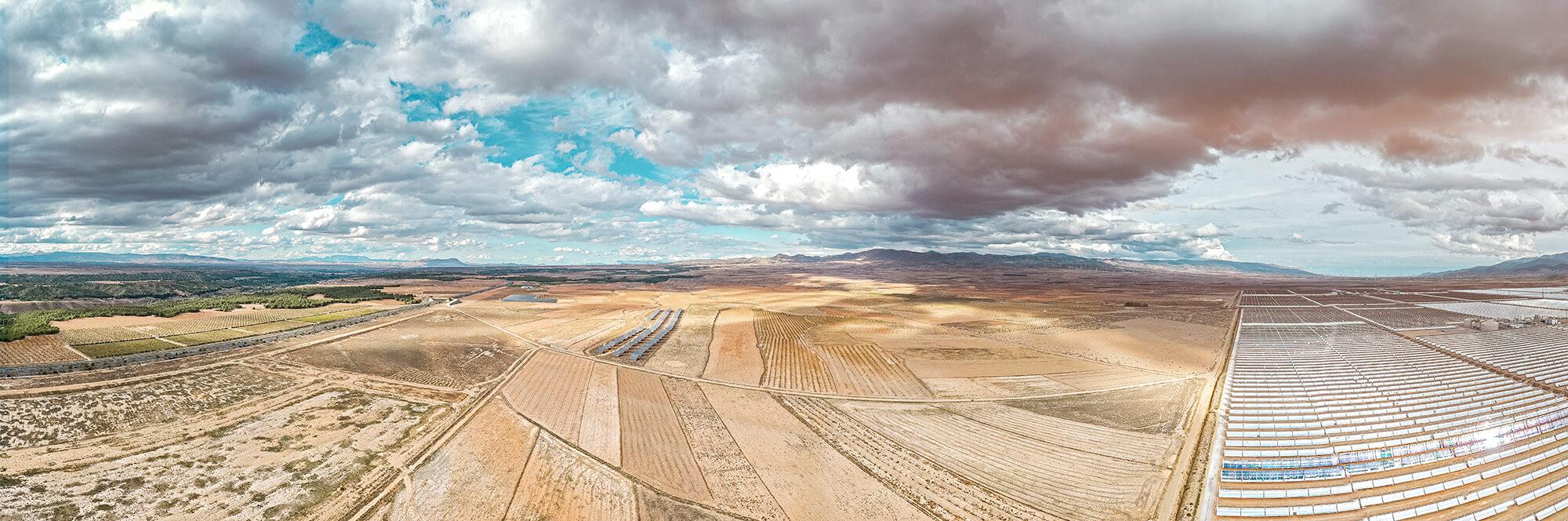 Panoramaaufnahme Drohne 31M von Andasol, Spanien