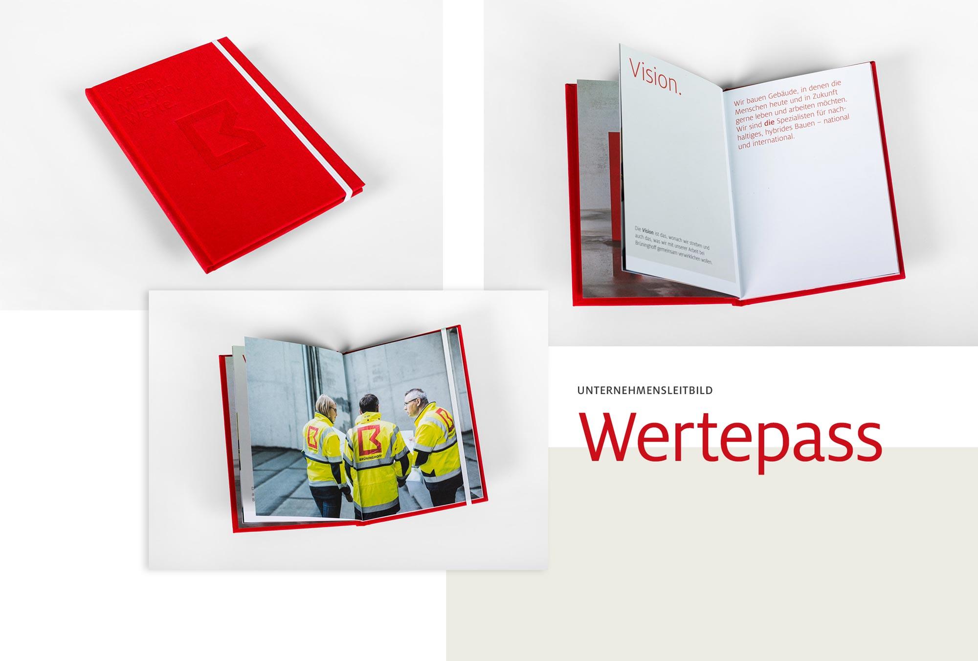 Das Unternehmensleitbild als kleines Buch von Brüninghoff, gestaltet von 31M