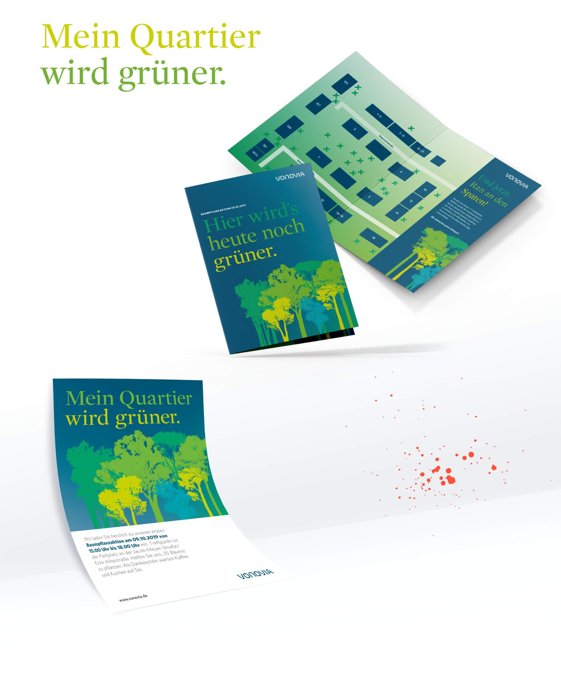 Broschüren und Flyer zu Nachhaltigkeits-Projekten, Baumpflanzaktion