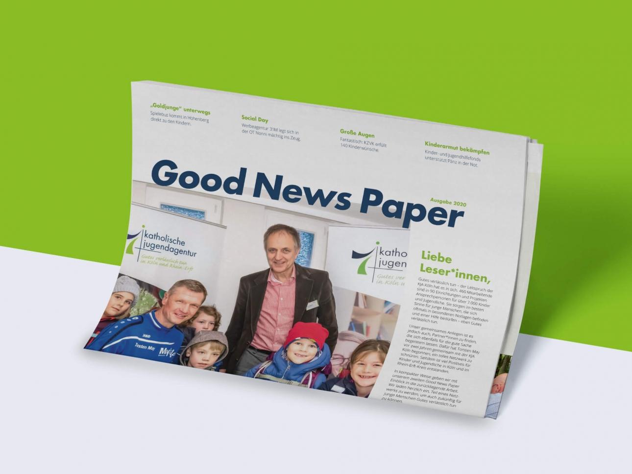 Titelseite der GOOD NEWS PAPER Zeitung, Corporate Publishing, Non-Profit