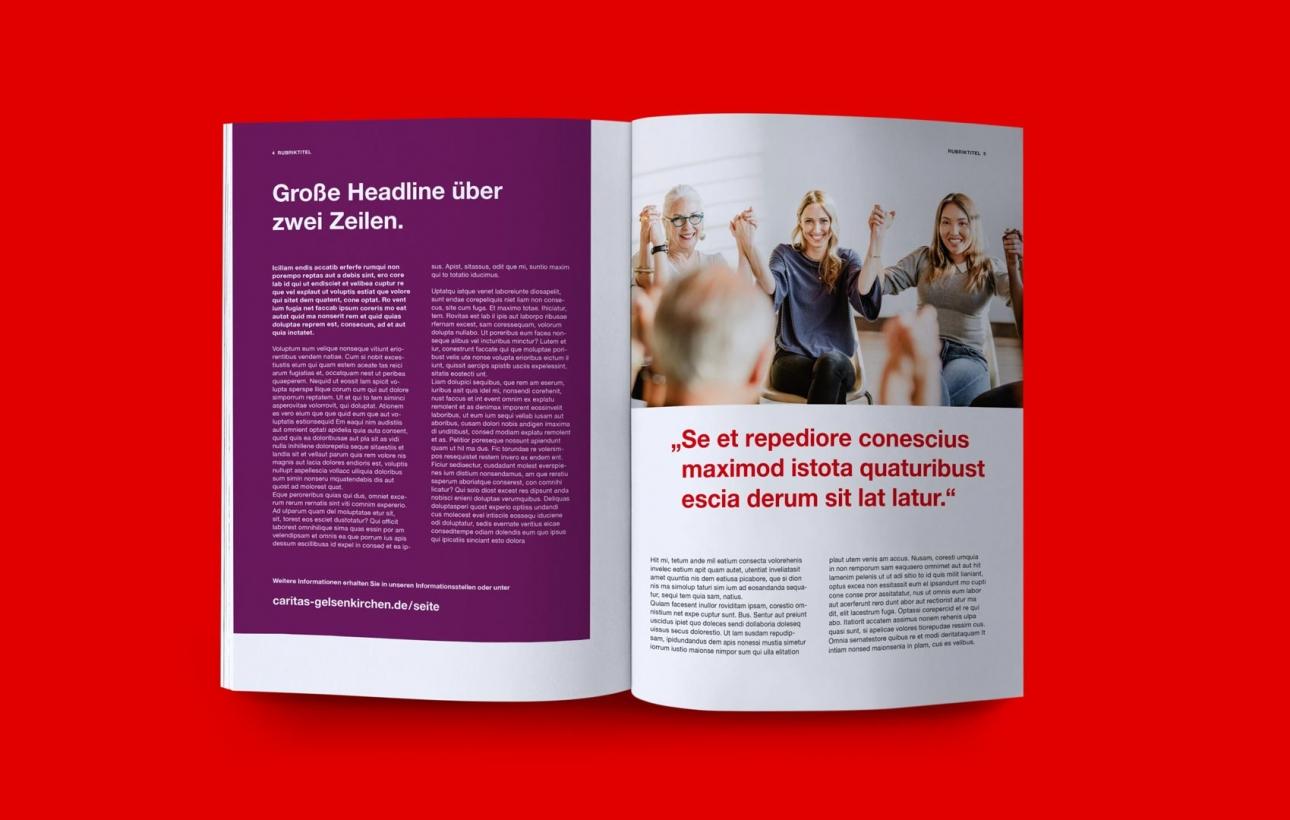 Beispiel für Innenseites einer Broschüre im neuen Design