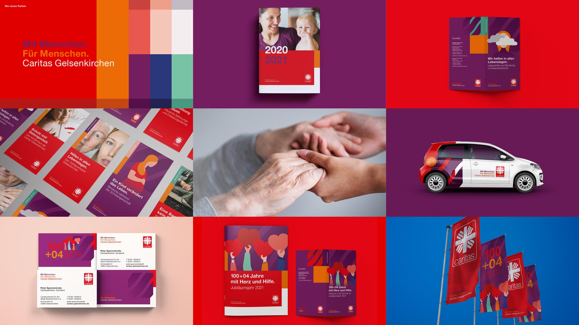 Übersicht Corporate Design und Jubiläumslogo für den Caritas Stadtverband Gelsenkirchen