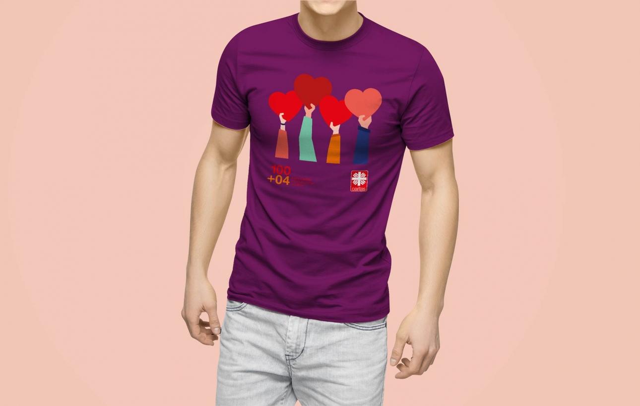 T-Shirt mit Jubiläumslogo der Caritas Gelsenkirchen