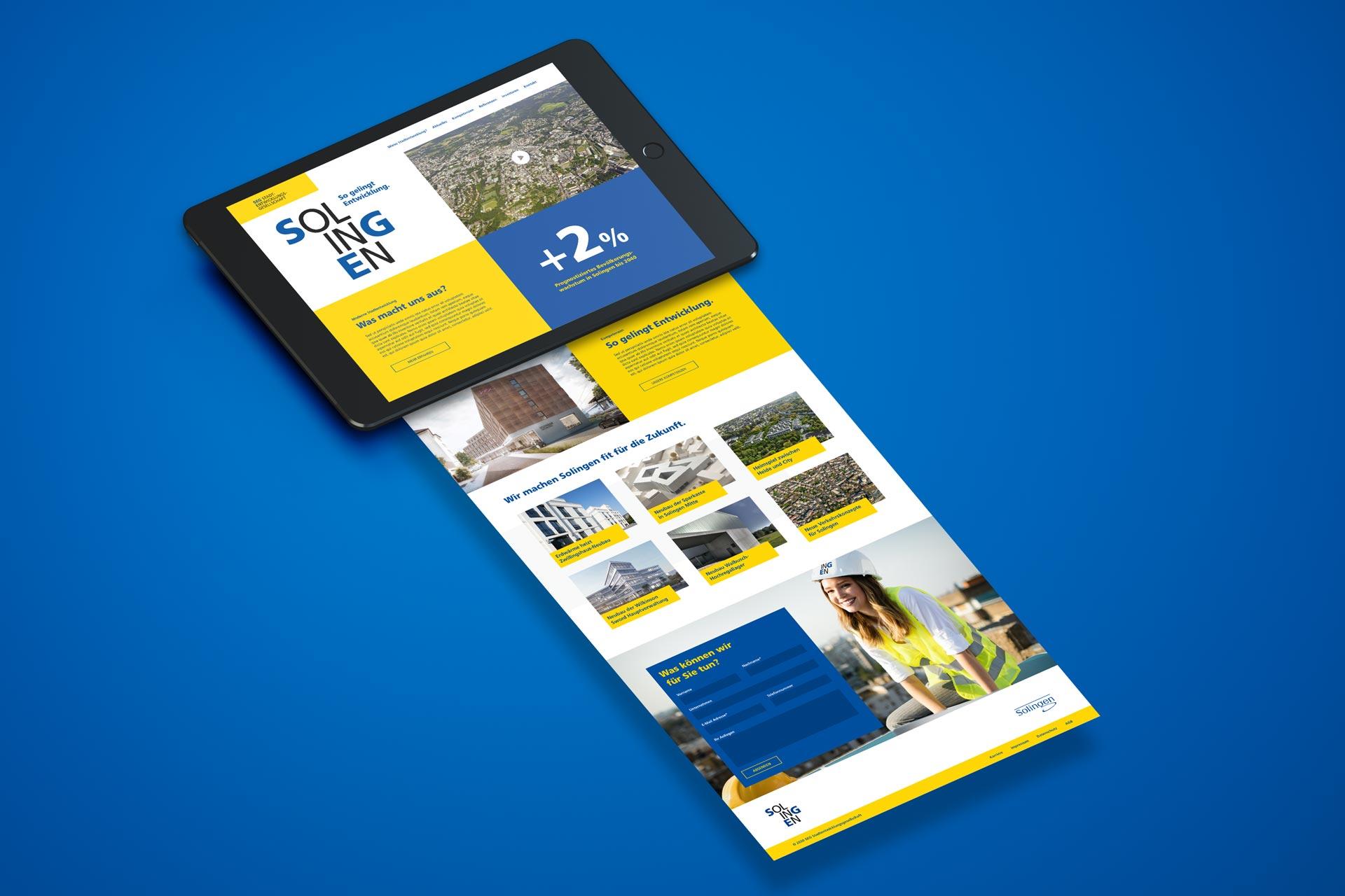 Webdesign – Ansicht der responsiven Startseite der Website