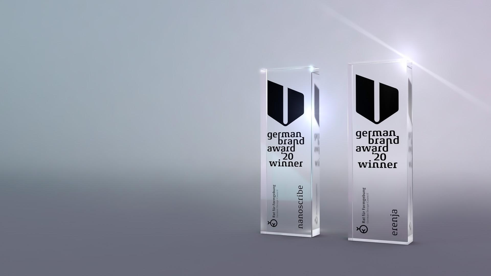Auszeichnung für erfolgreiche Markenführung, Corporate Design Auszeichnung für erenja und nanoscribe, verliehen vom Rat der Formgebung beim German Brand Award 2020