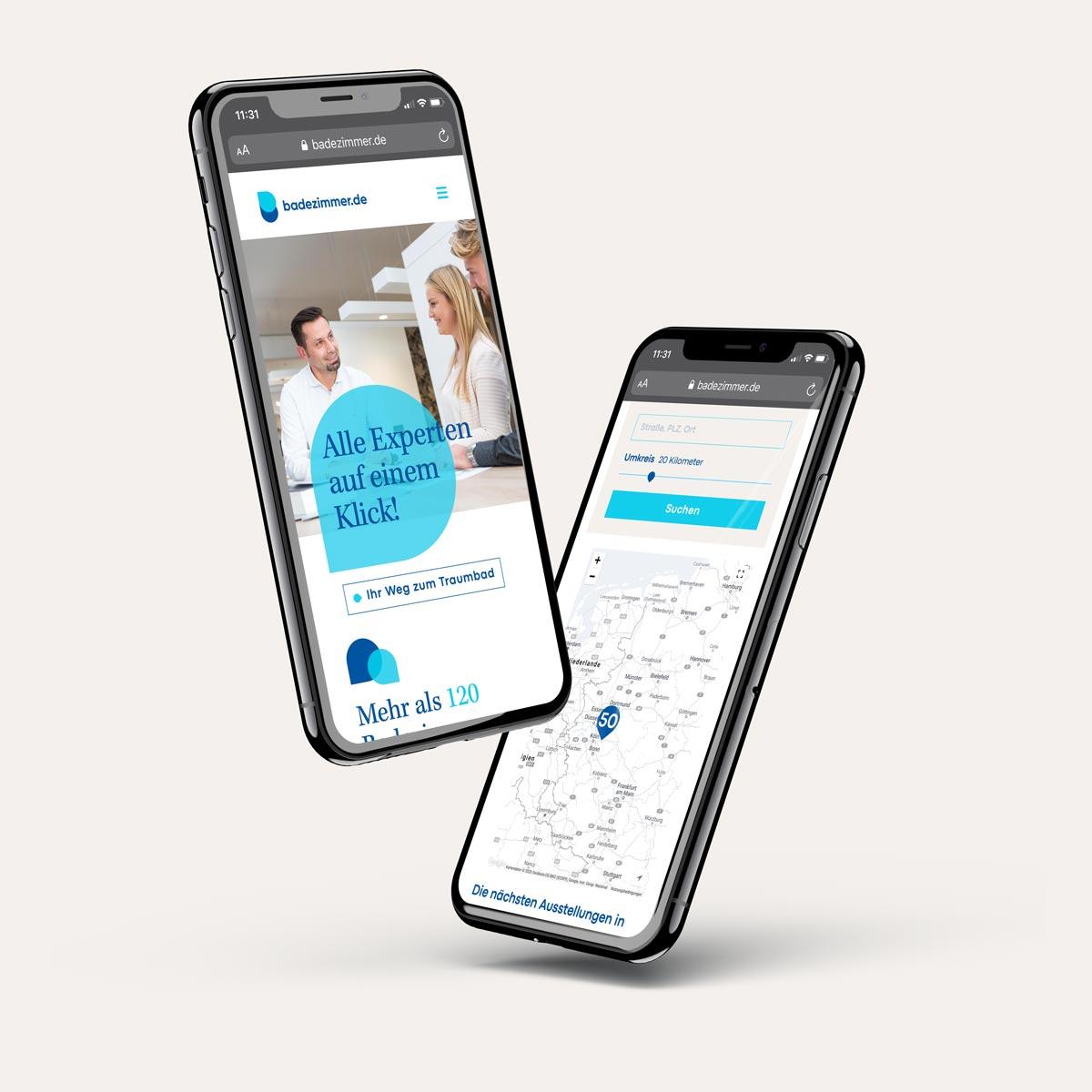 Zielführendes Webdesign für badezimmer.de auf Mobilgeräten