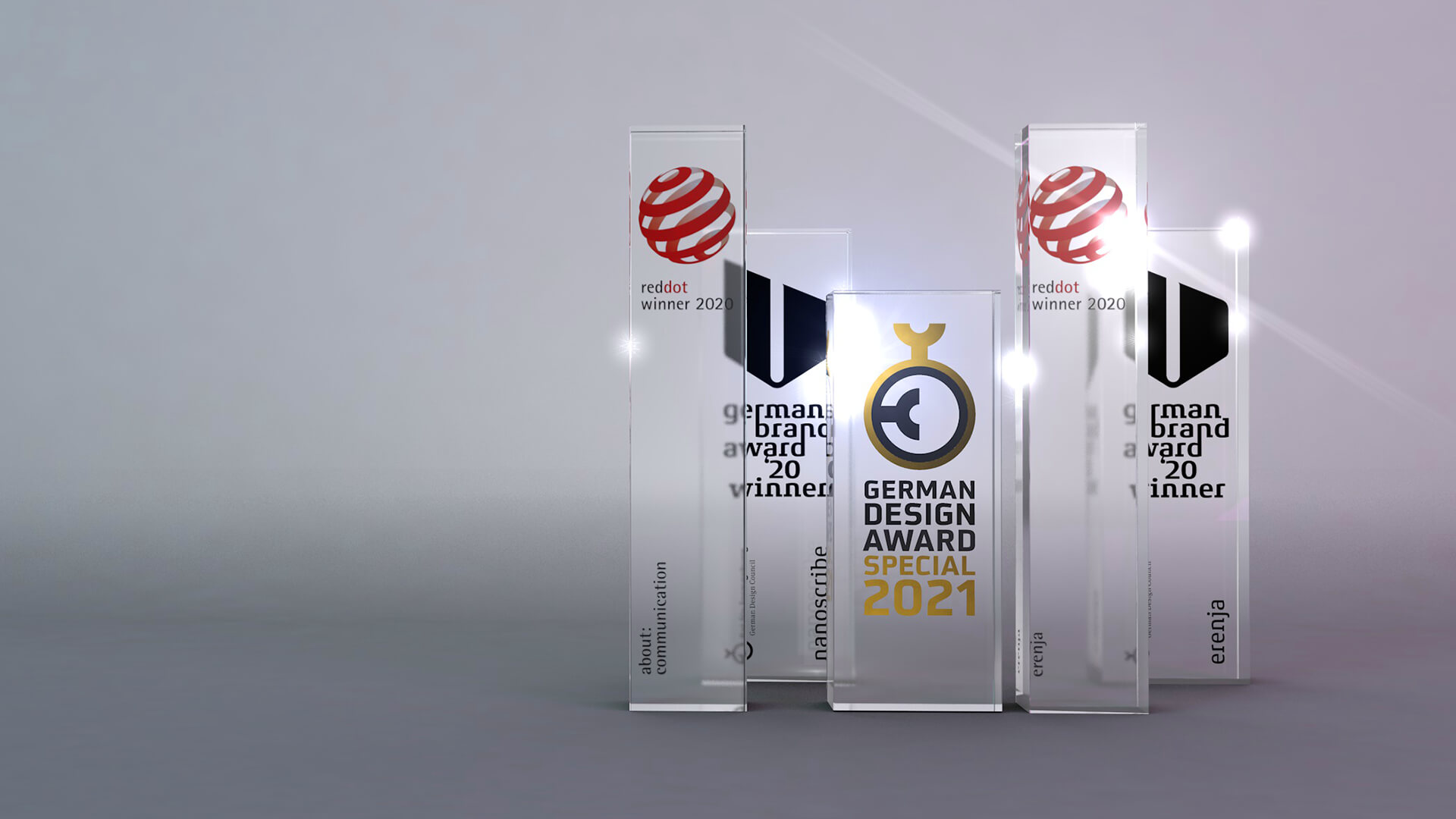 Auszeichnungen und Awards für Corporate Design und Kampagnen. Red Dot Award, German Brand Award, German Design Award