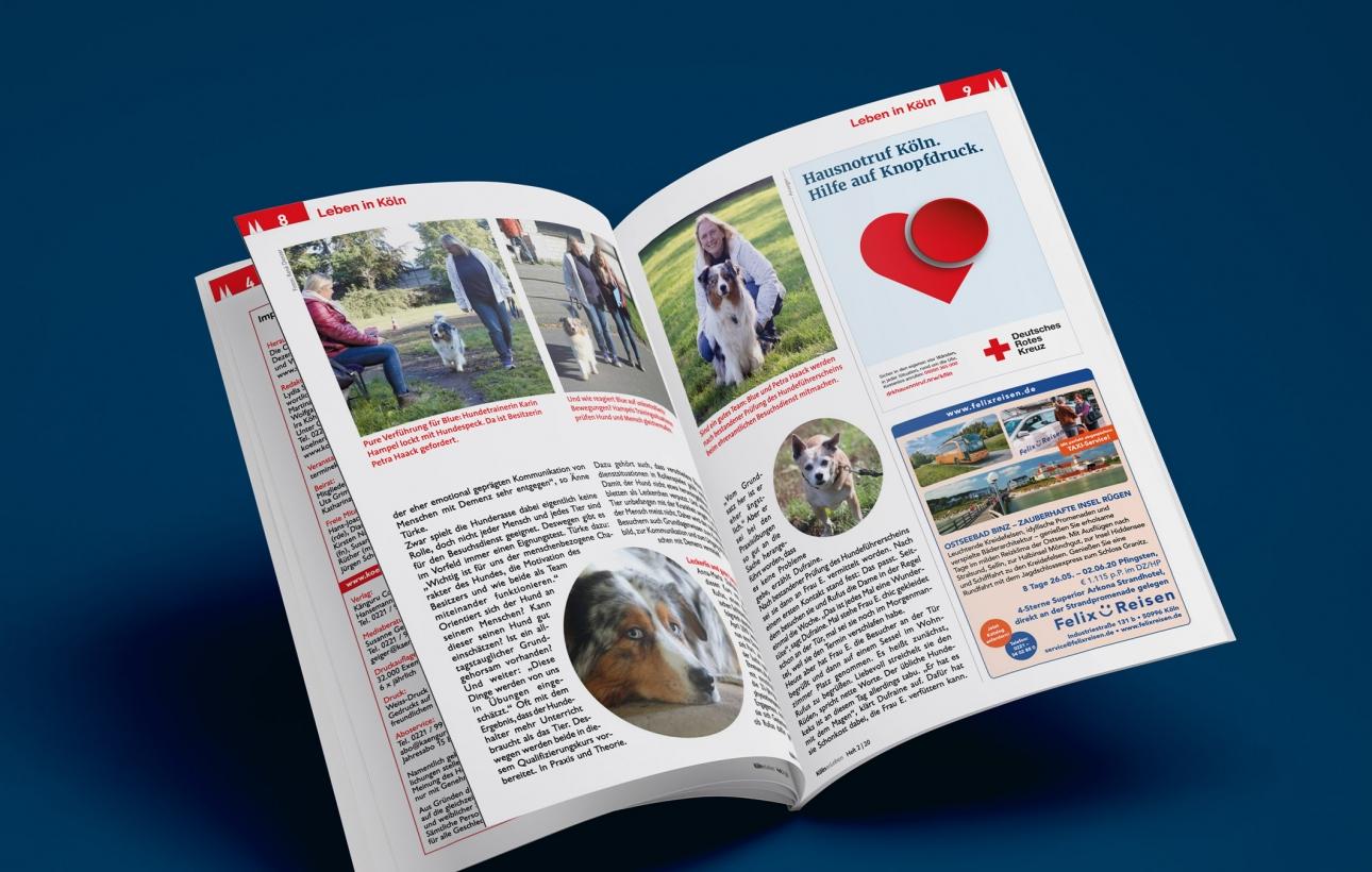 Printanzeige im Seniorenmagazin für Hausnotruf-Kampagne