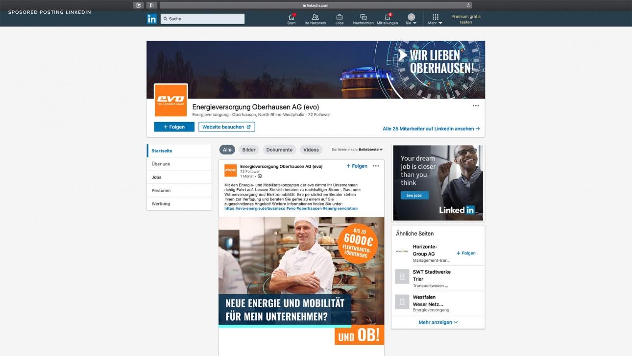 Linkedinkampagne für Firmenkunden